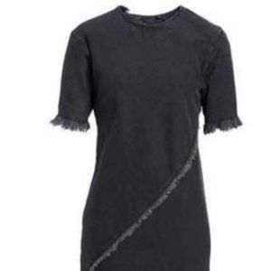 TOPSHOP Boutique Spiral Denim Fray Shift Dress
